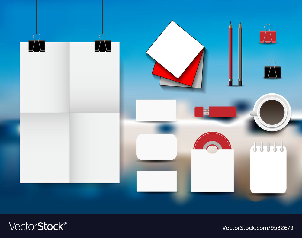 Stationery set on an abstract blue background