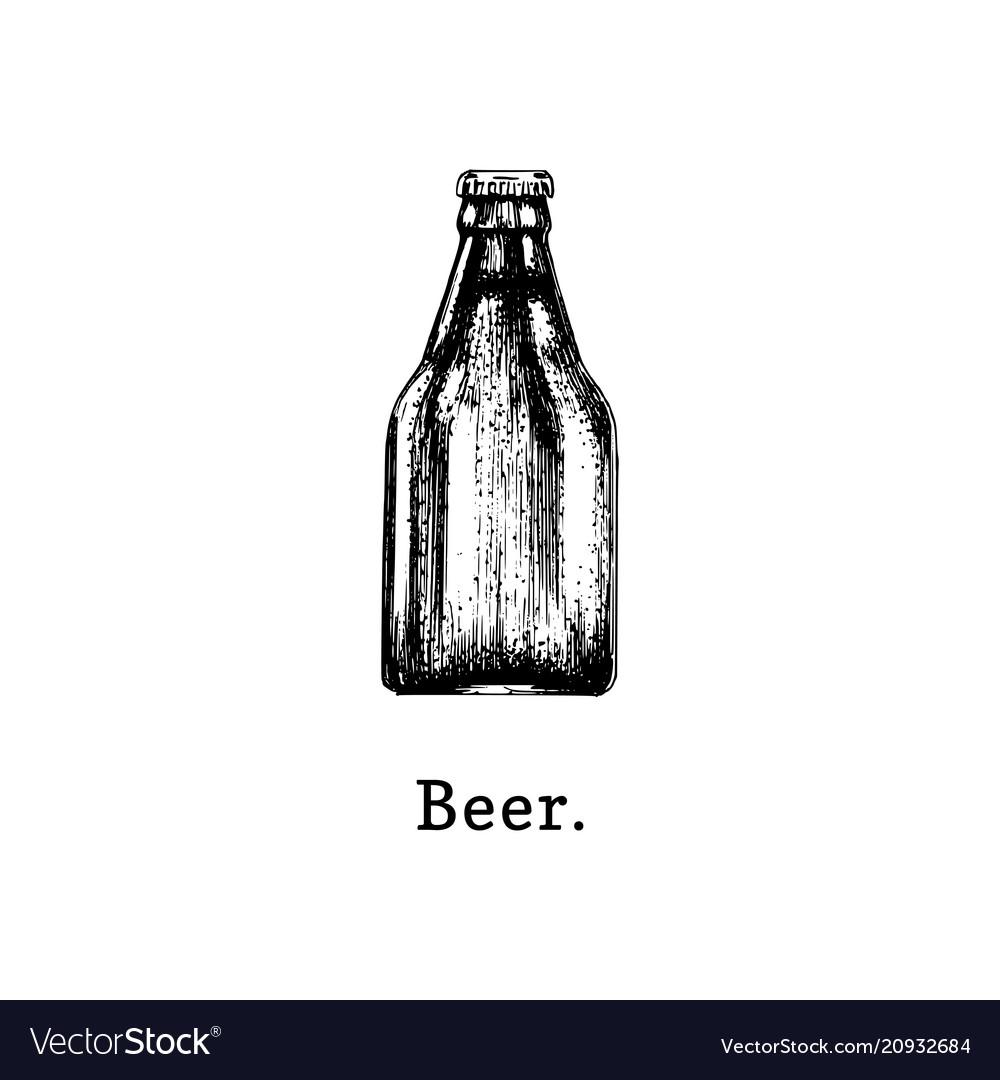 Beer bottle hand drawn