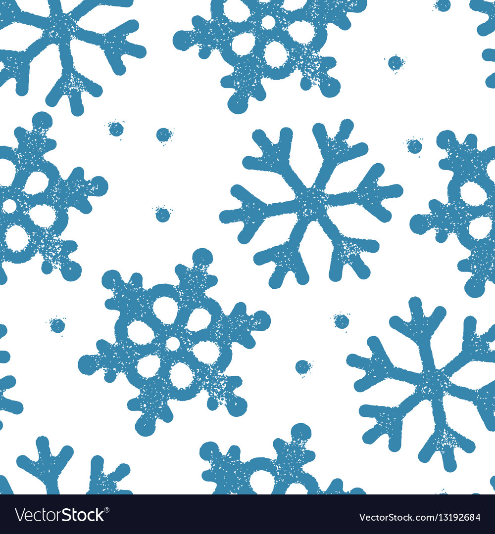 Blue snowflakes pattern seamless Stamp textured