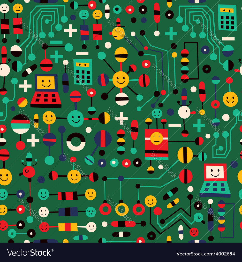 Cartoon circuit board pattern