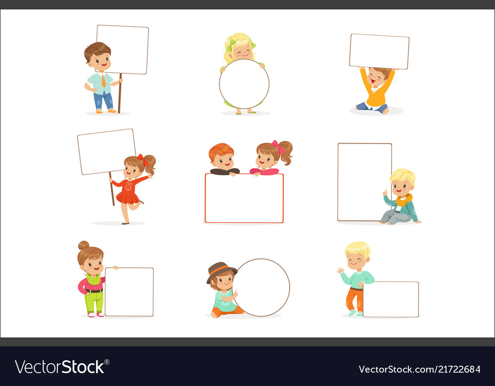 Cute kids holding white blank boards in different