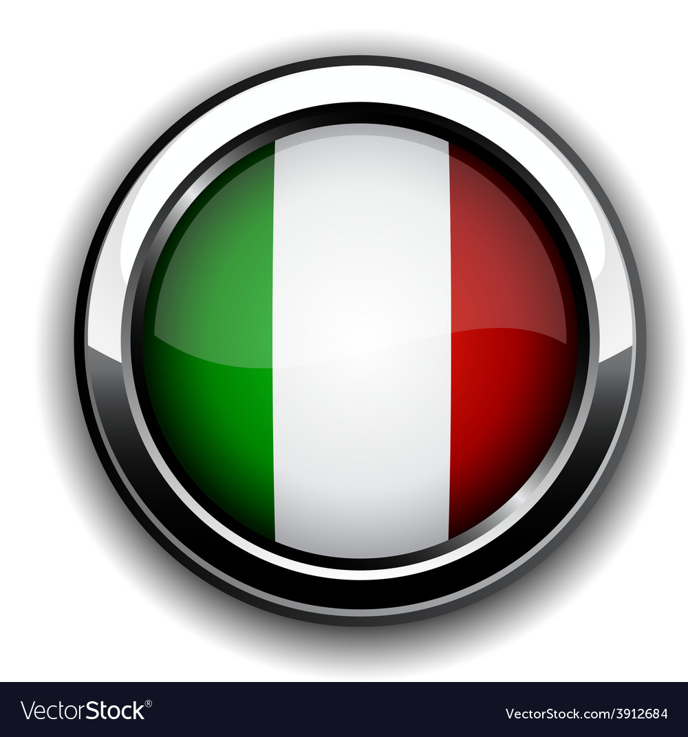 Italian flag button vector image