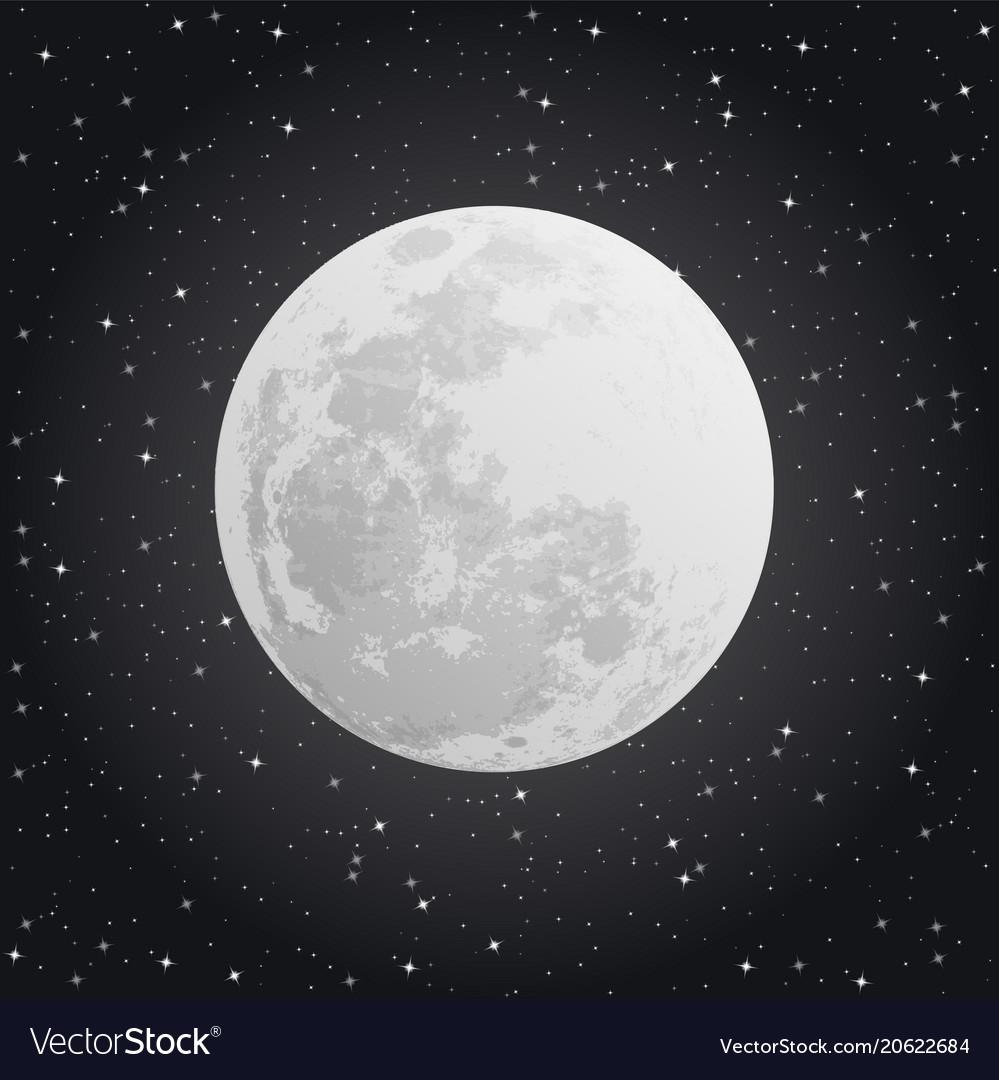 Moon on dark background night sky vector image