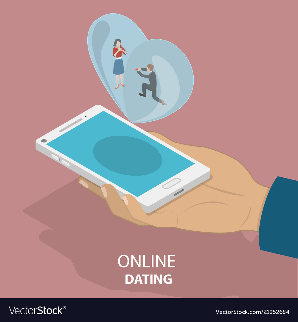 Online dating app isometric flat concept