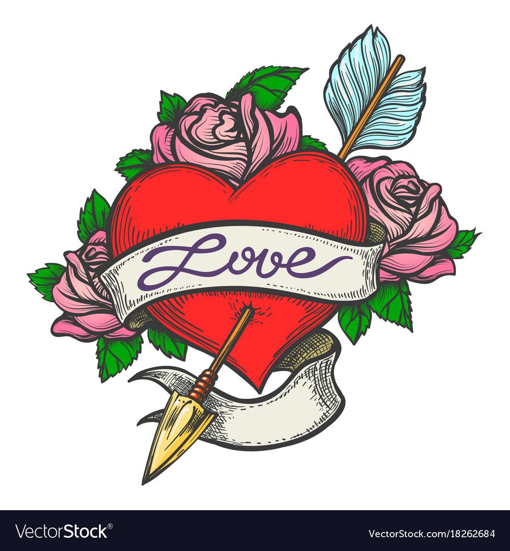 Pierced heart in tattoo style