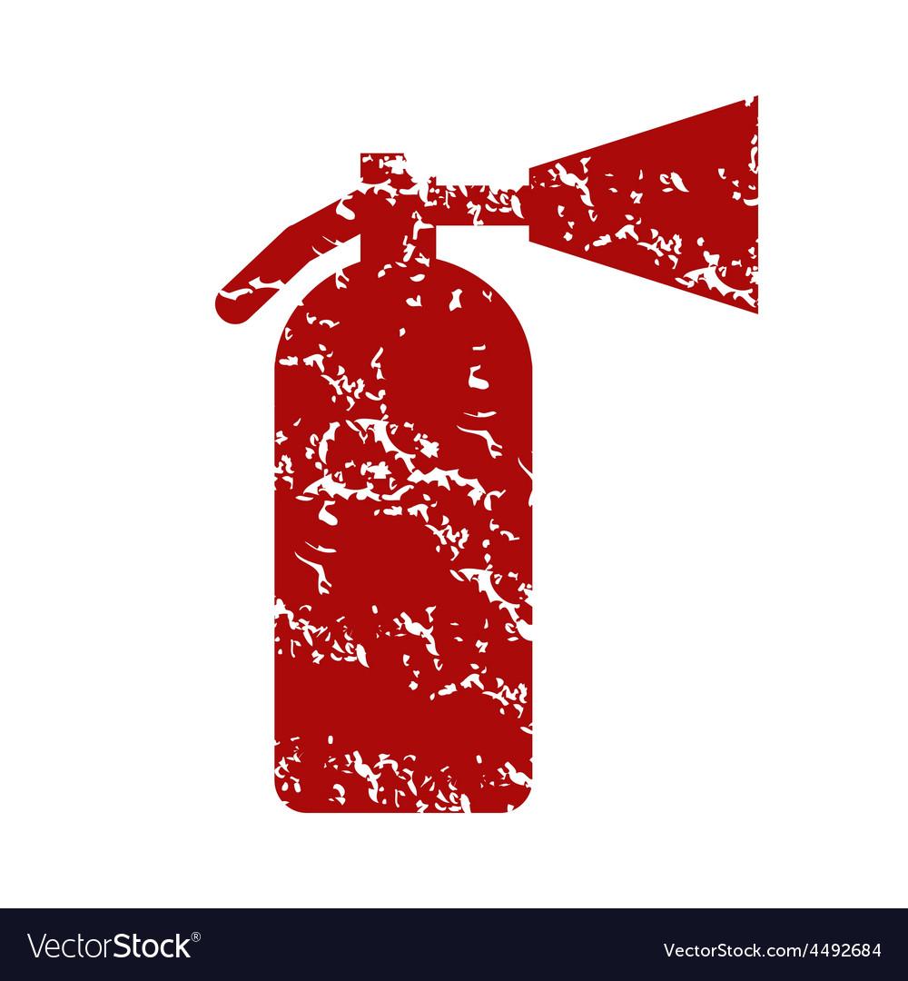 Red grunge fire extinguisher logo vector image
