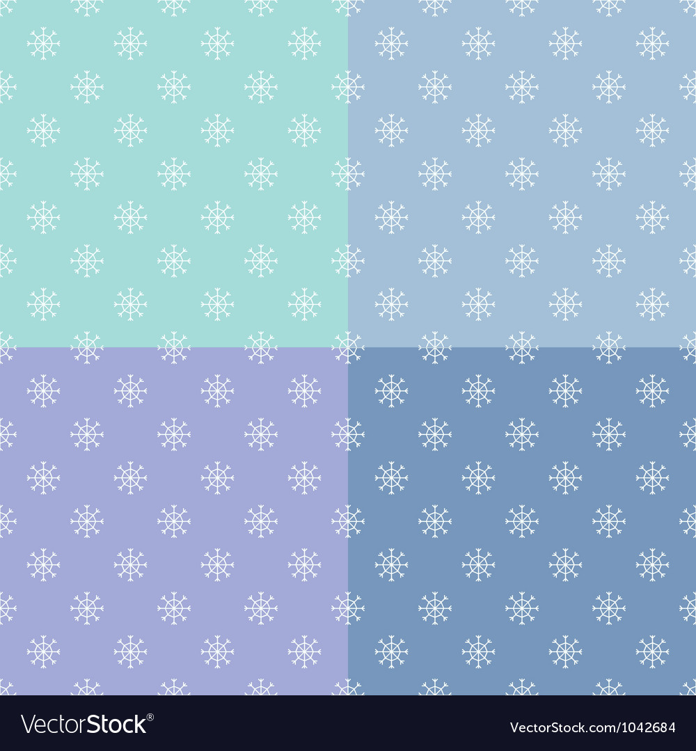 Set of seamless pattern with snowflakes vector image