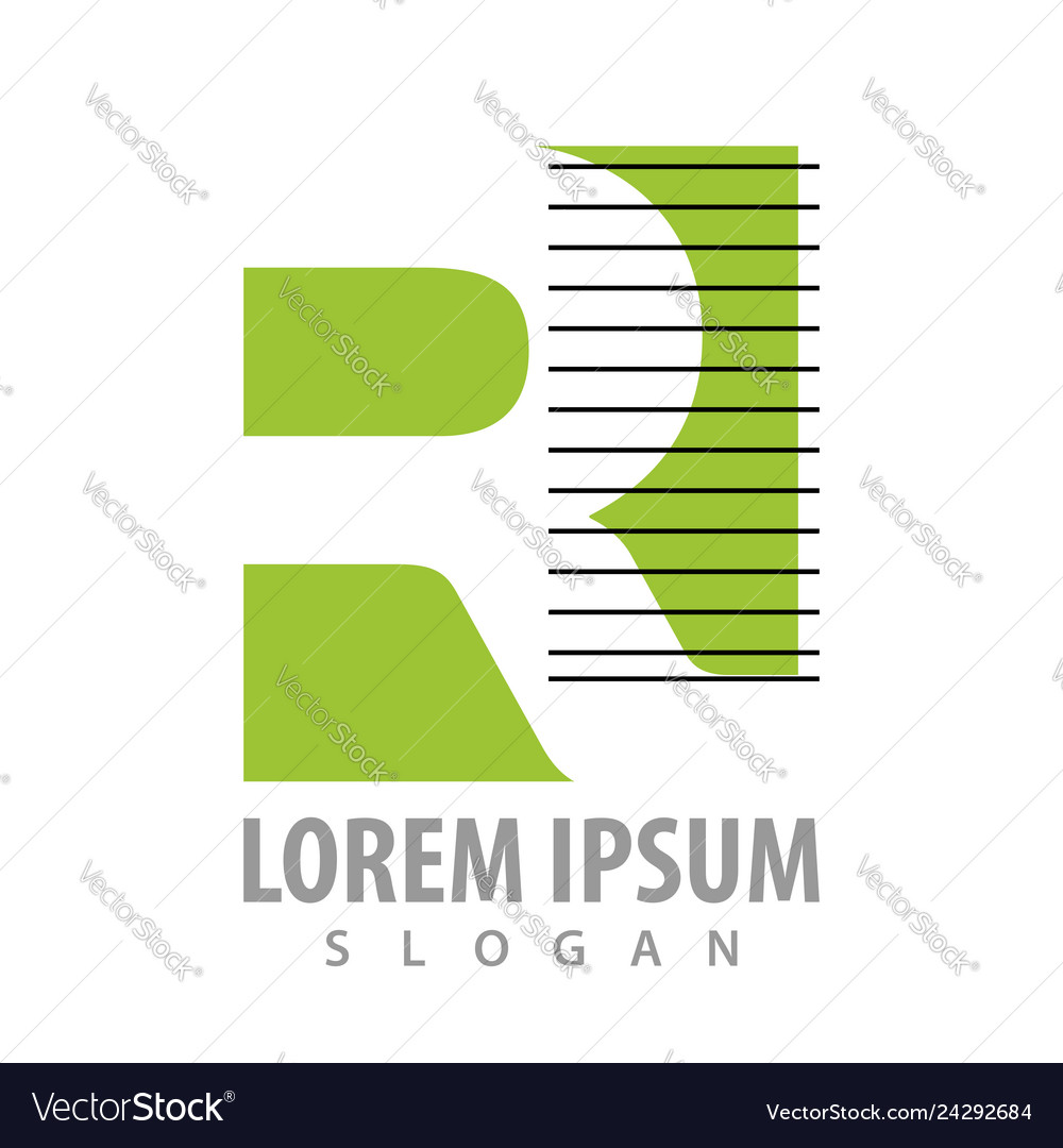 Square cut off letter r with black lines concept