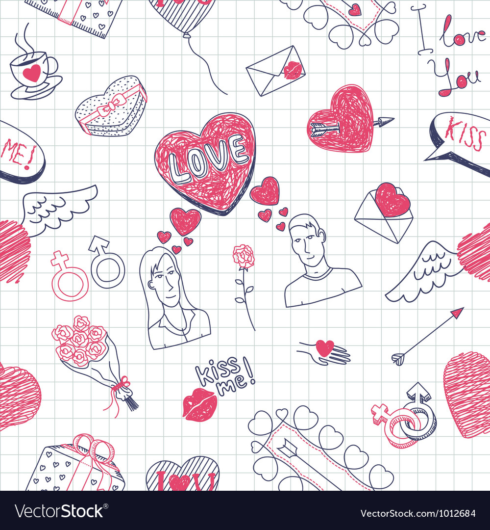 Valentine doodles seamless pattern