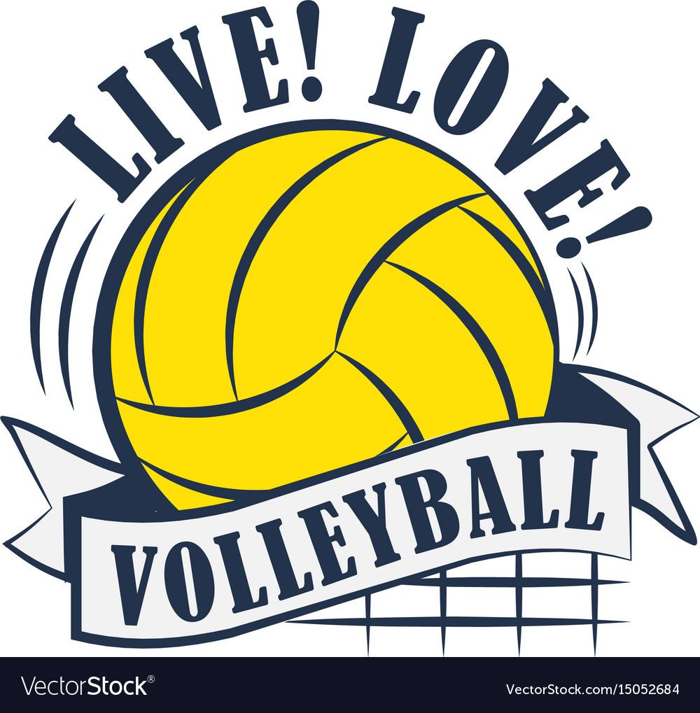 Yellow volleyball emblem