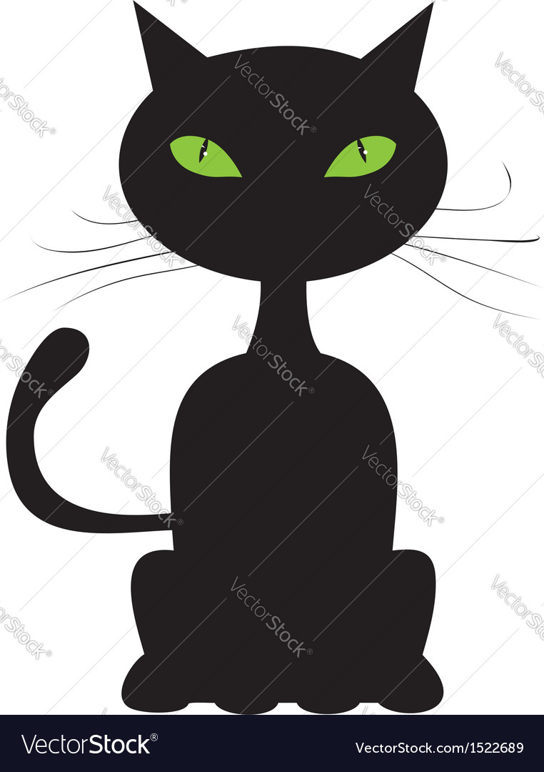 Abstract black cat vector image