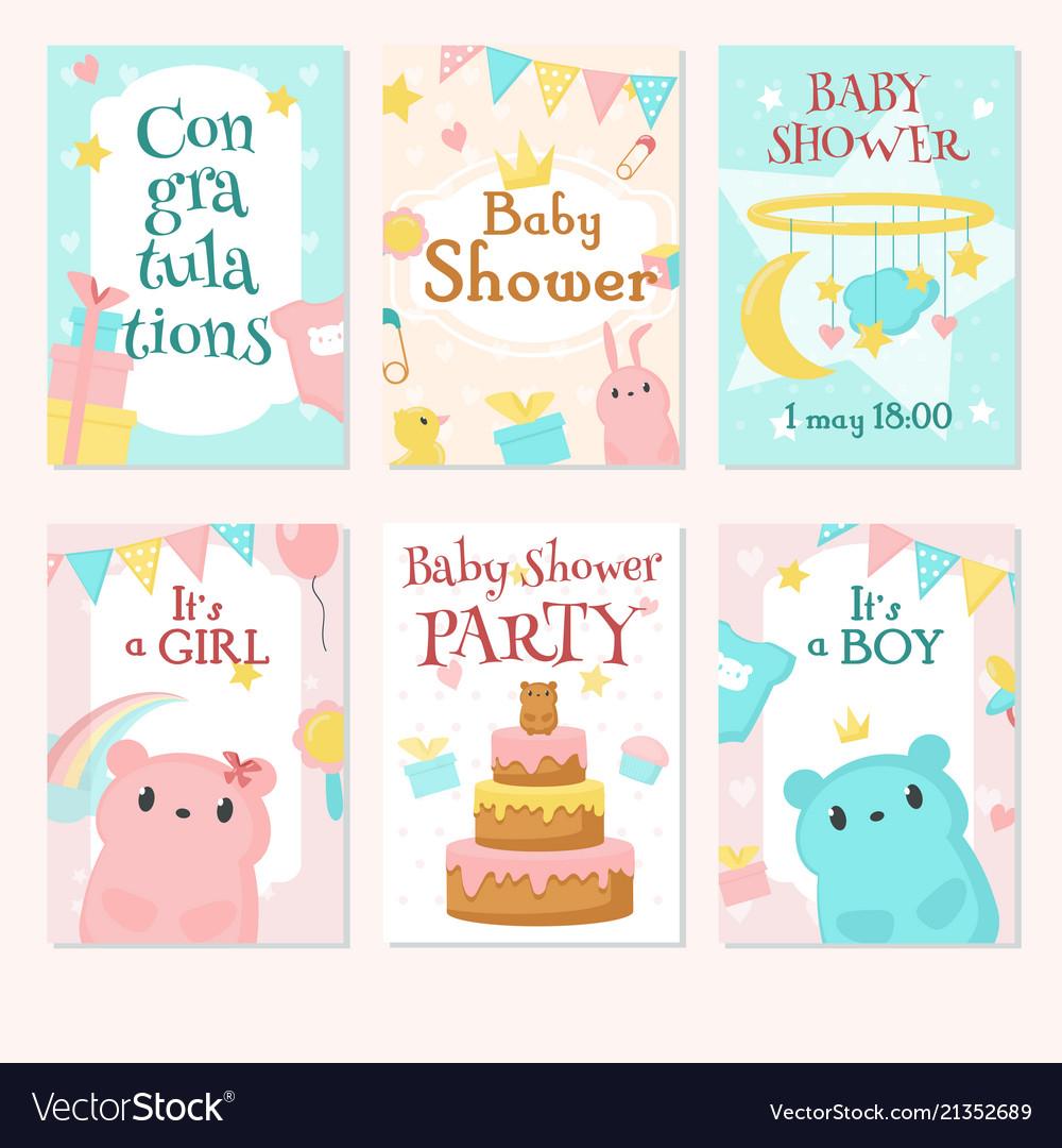 Baby shower invitation template set