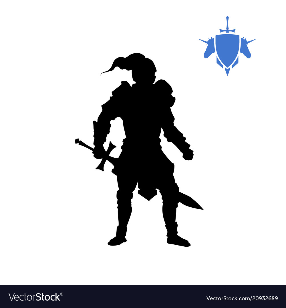 Black silhouette of medieval knight