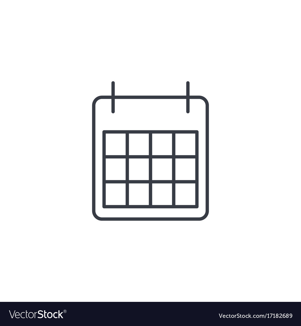 Calendar thin line icon linear symbol