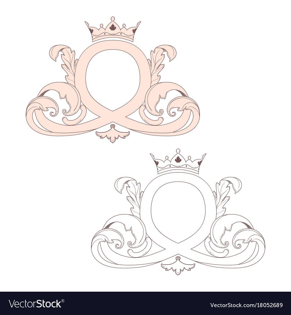 Calligraphic baroque ornament with a crown is
