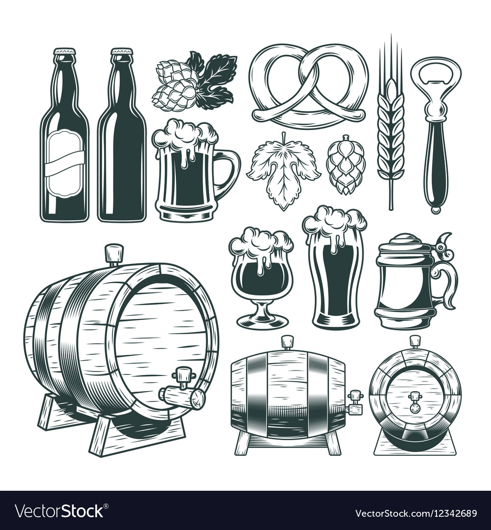 Collection retro icons of beer isolated on white