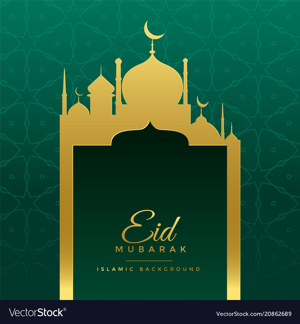 Eid mubarak wishes greeting with golden mosque vector image m4hsunfo