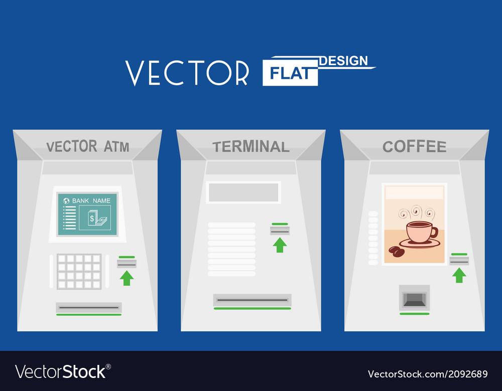 Flat design atm terminal coffee
