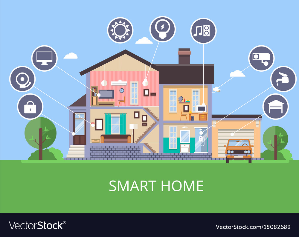 Flat smart home in cut view