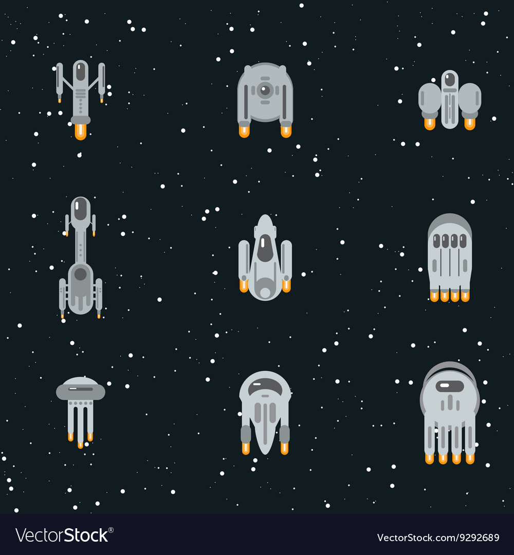 Flat space ships vector image