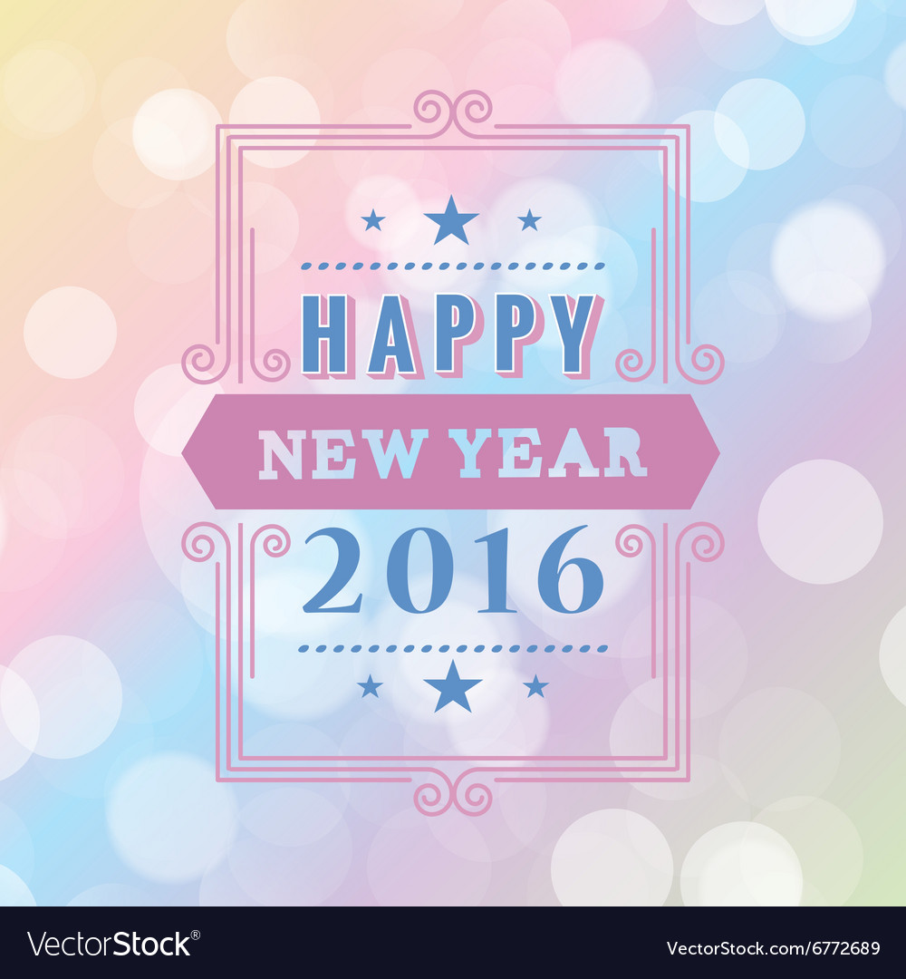 Happy new year typographic design white background