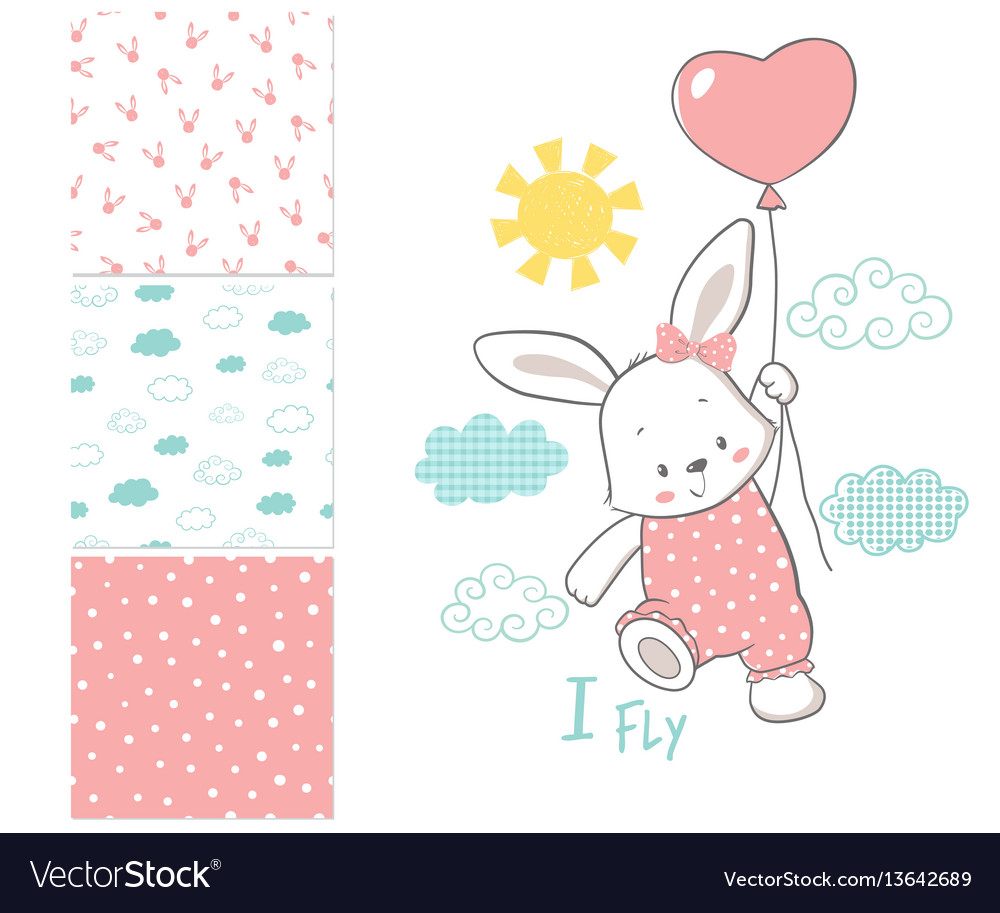 Little bunny is flying in a balloon surface