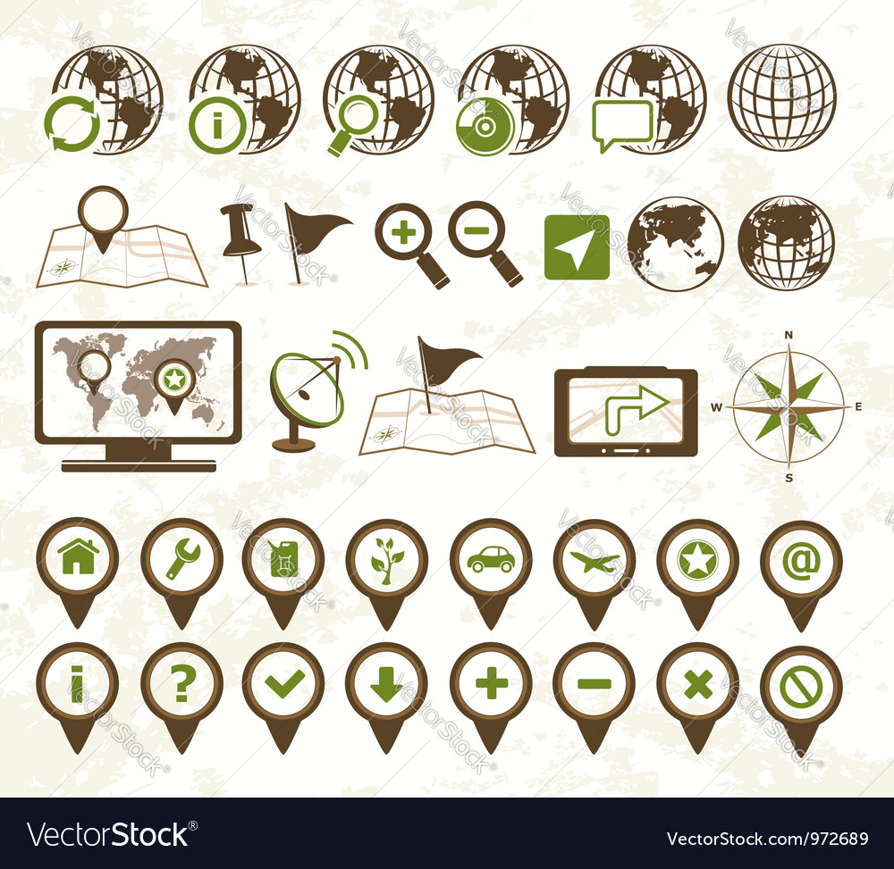 Location icons military style vector image