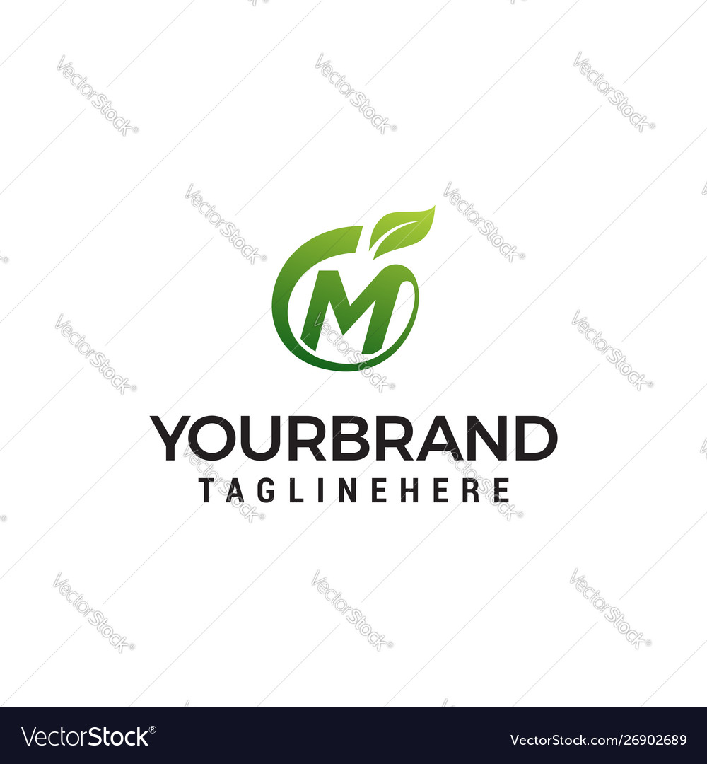 M logo initial letter design template with leaf