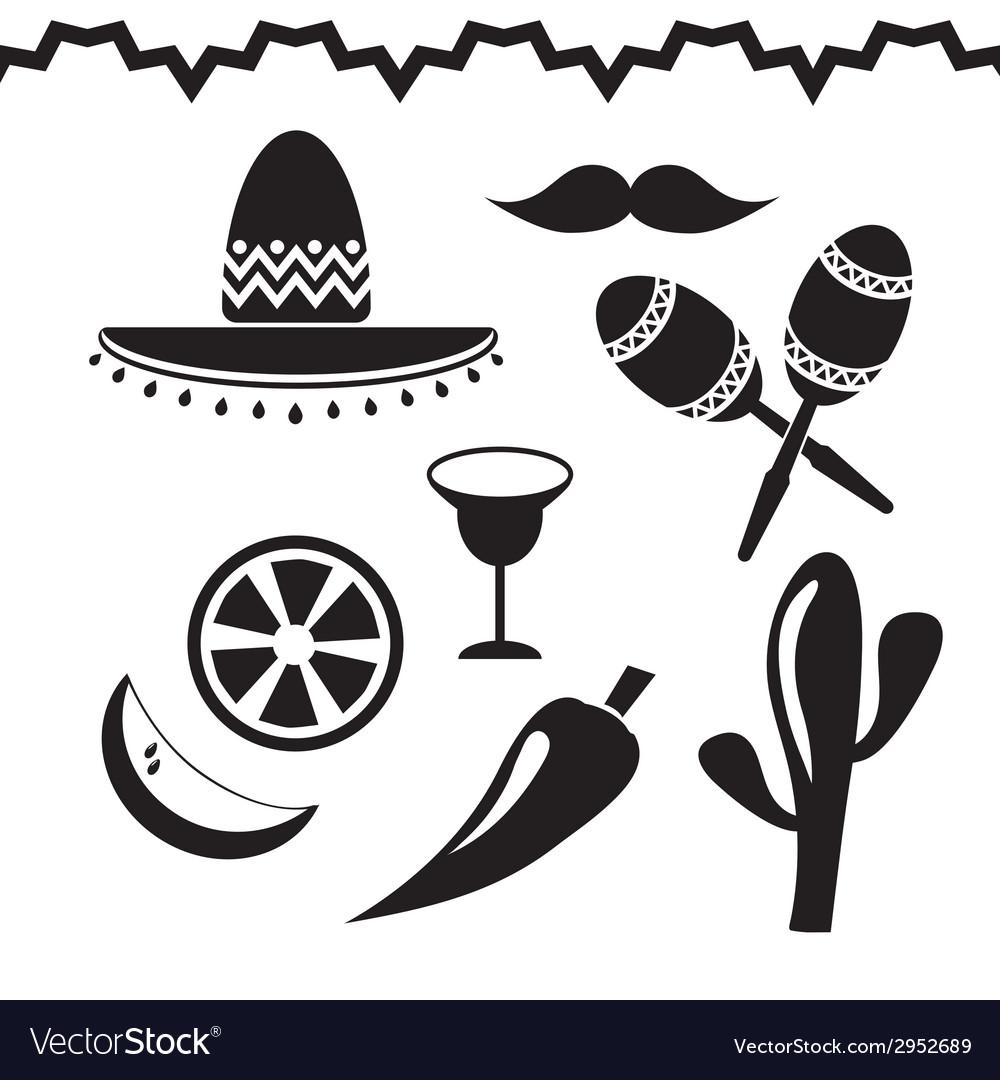 Mexico icons set on white background