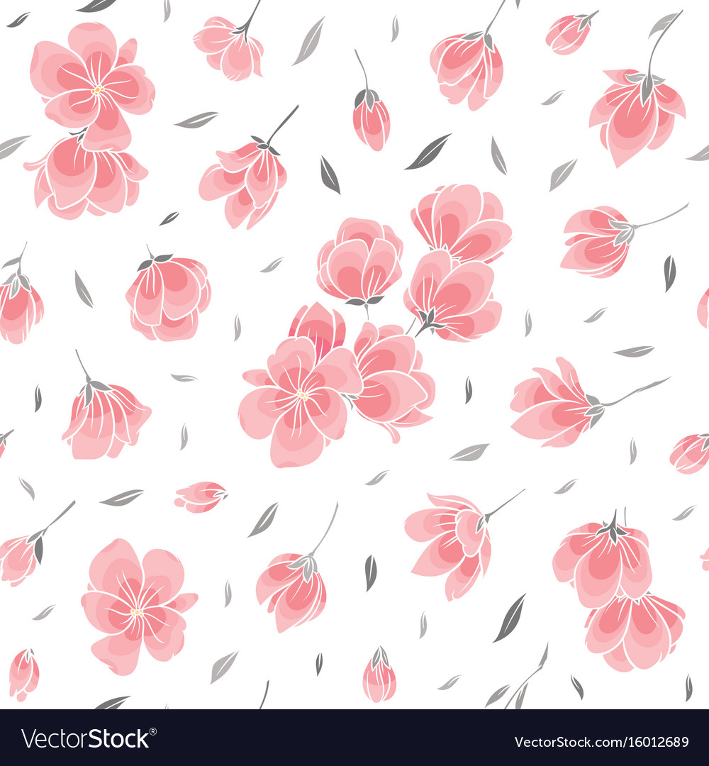 Seamless background pattern pink sakura blossom vector image mightylinksfo