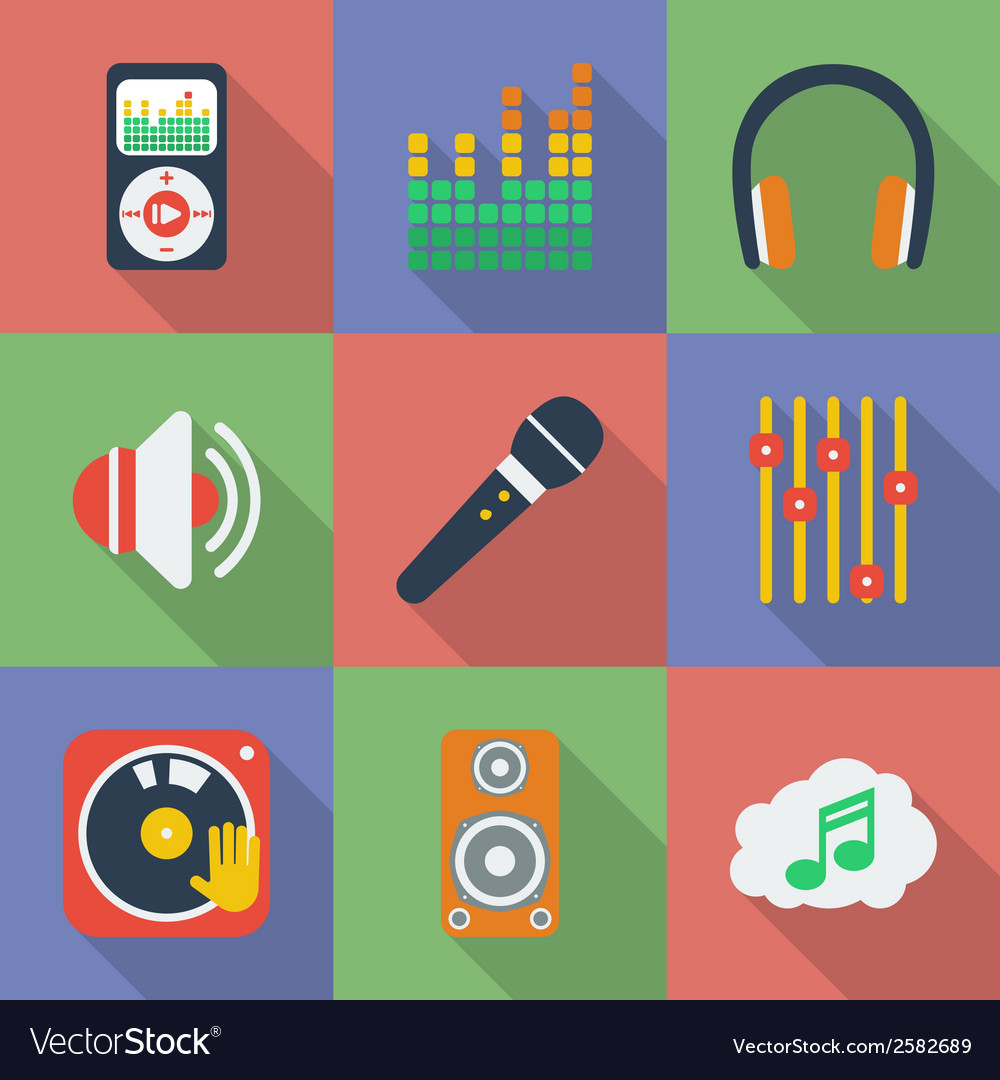 Set of icons of Music theme Modern flat style with