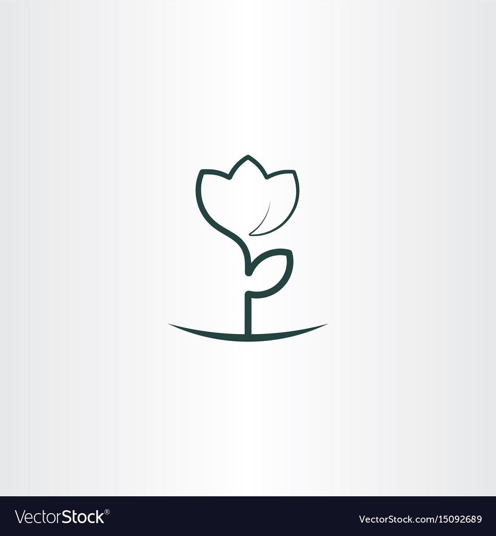 Simple flower plant line icon logo