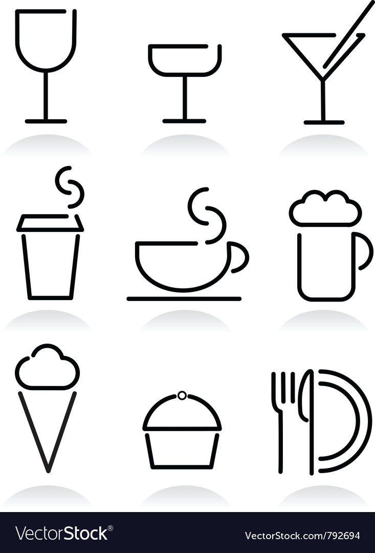 Beverage and food set icons on white