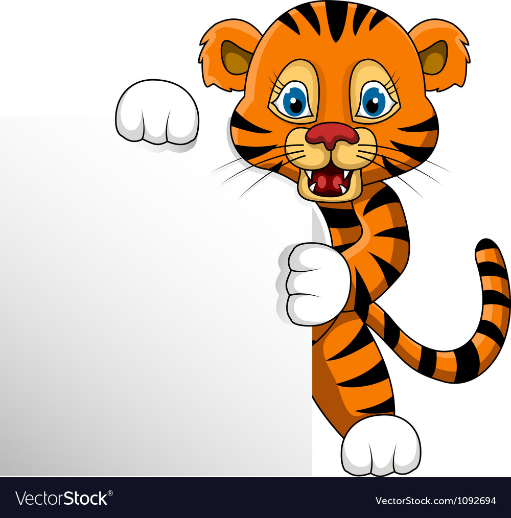 Cute young tiger cartoon with blank sign