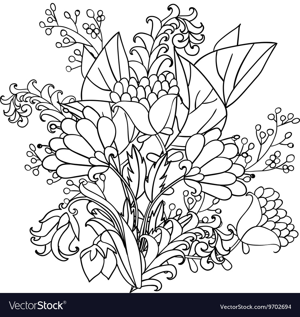Decorative Black And White Flowers Royalty Free Vector Image
