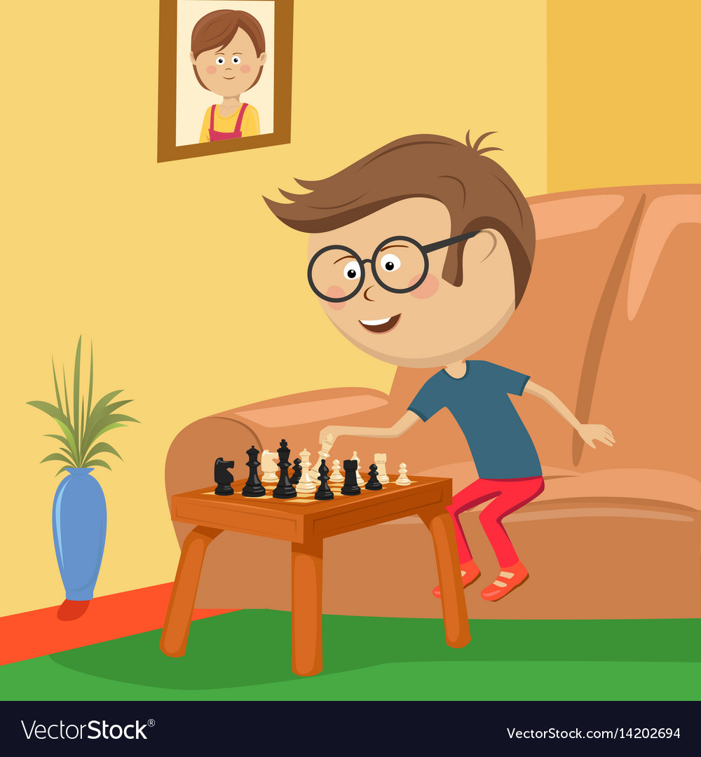 Little boy with glasses playing chess in room