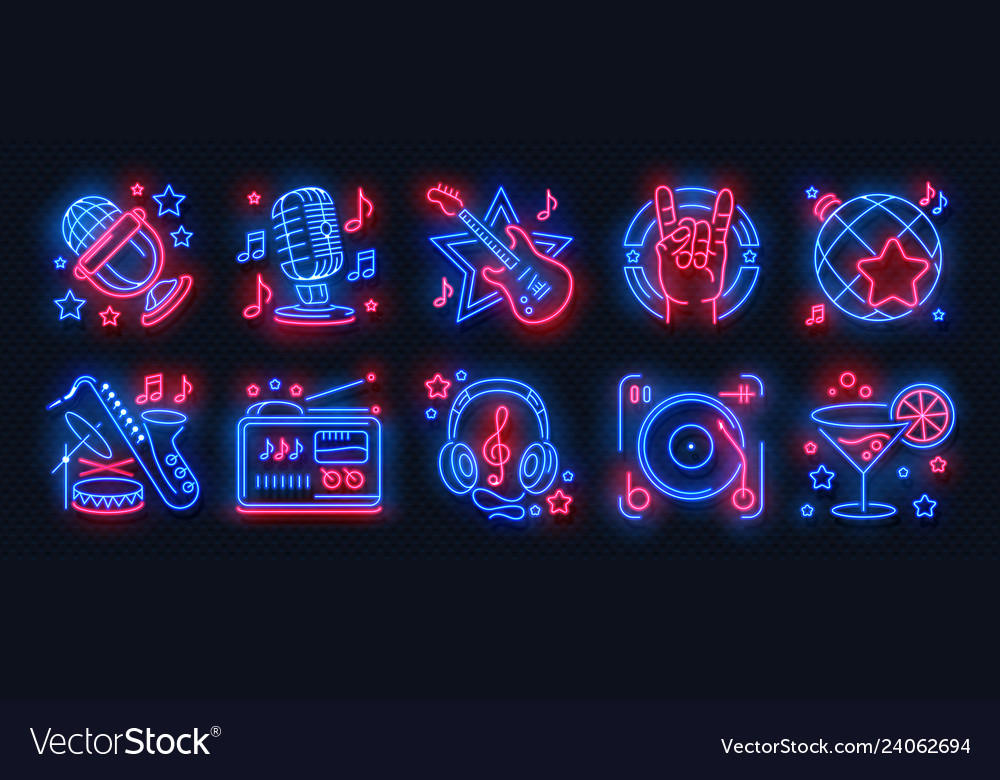 Neon party icons dance music karaoke light signs