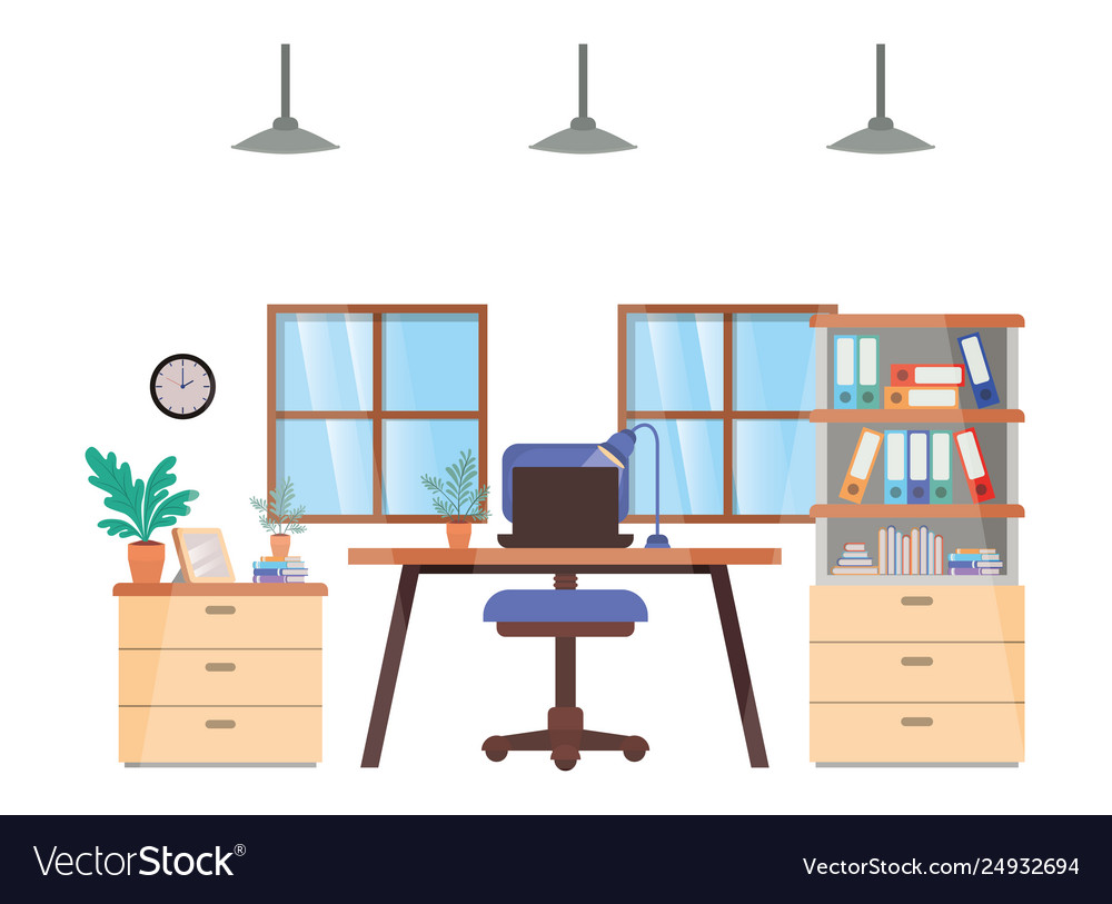 Office desk and shelving with books isolated icon