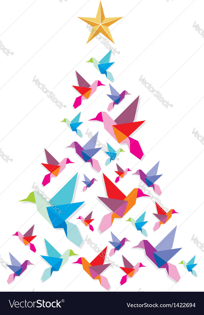 Origami hummingbirds Christmas tree vector image