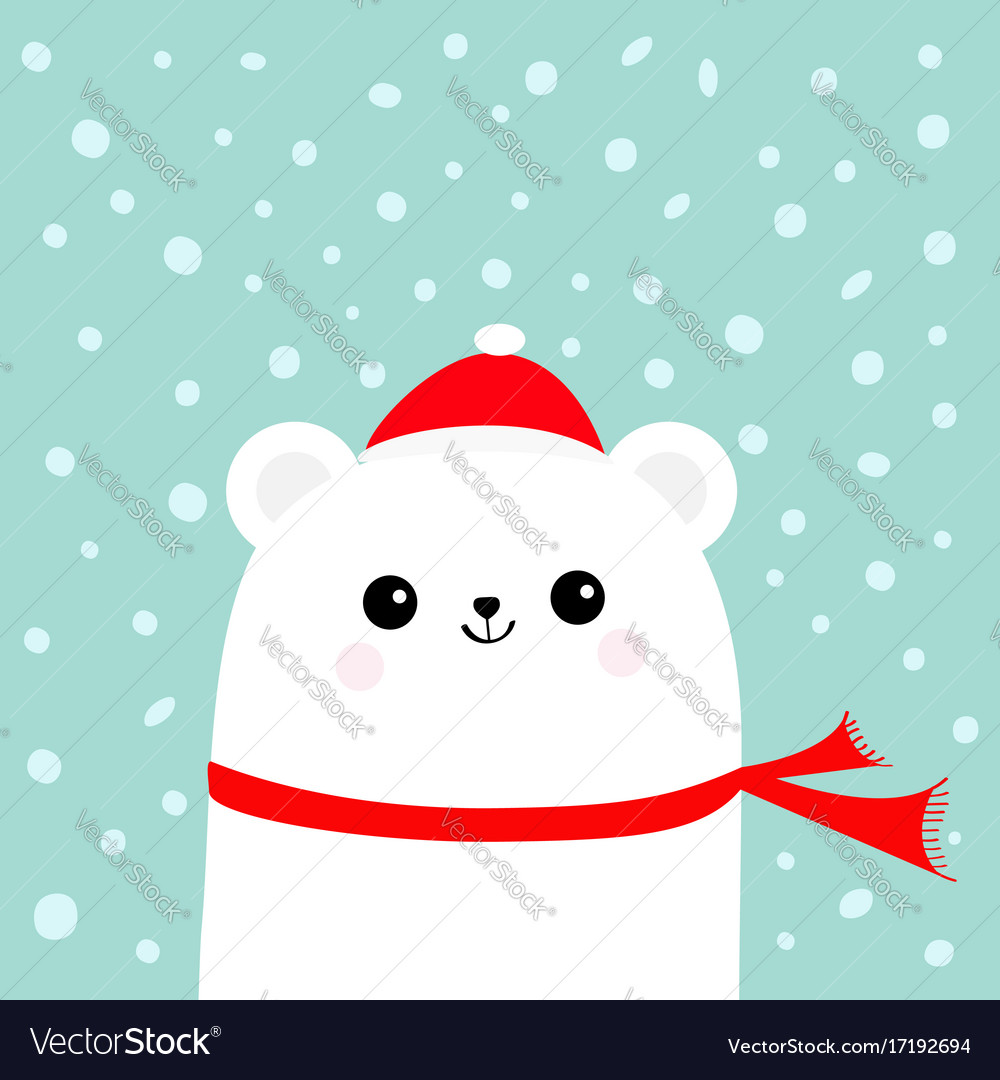 Polar white little small bear cub wearing hat and