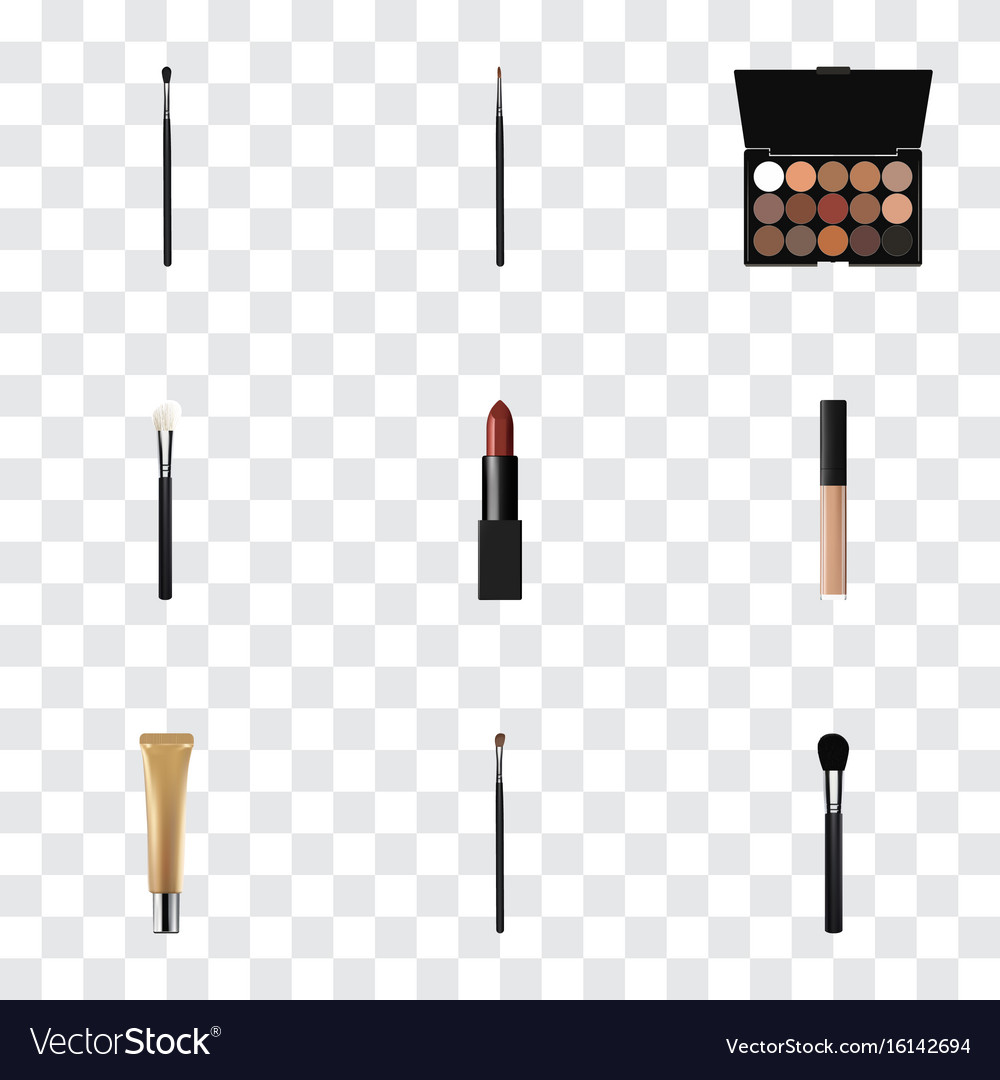 Realistic powder blush beauty accessory make-up vector image