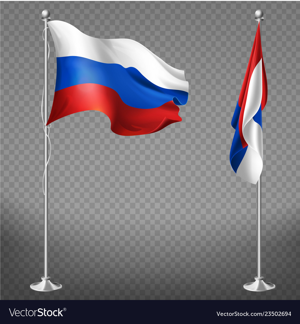 Russia national tricolor flag 3d realistic