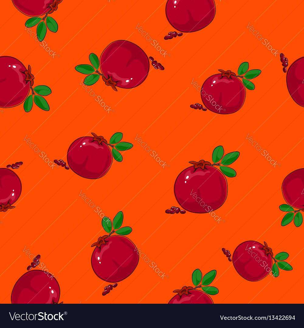 Seamless pattern pomegranate on orange background
