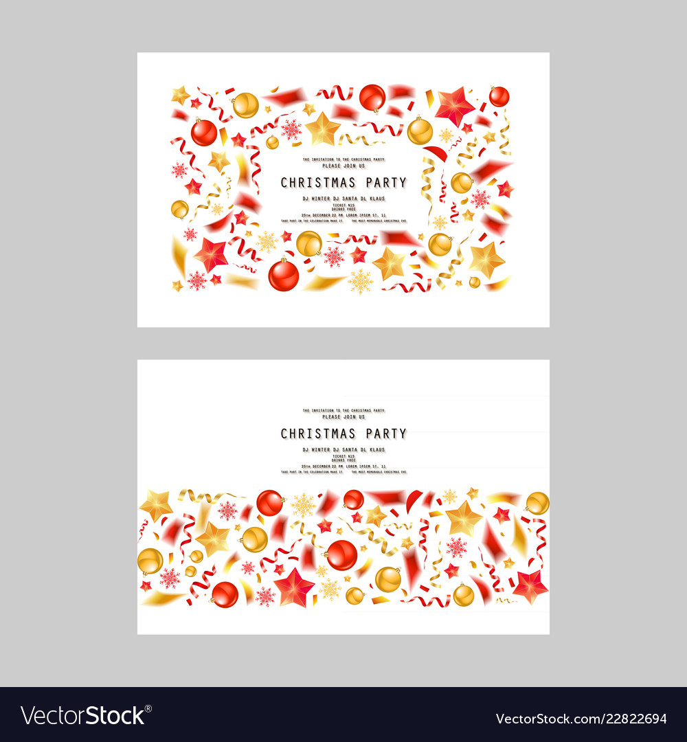 Set christmas party or dinner invitations