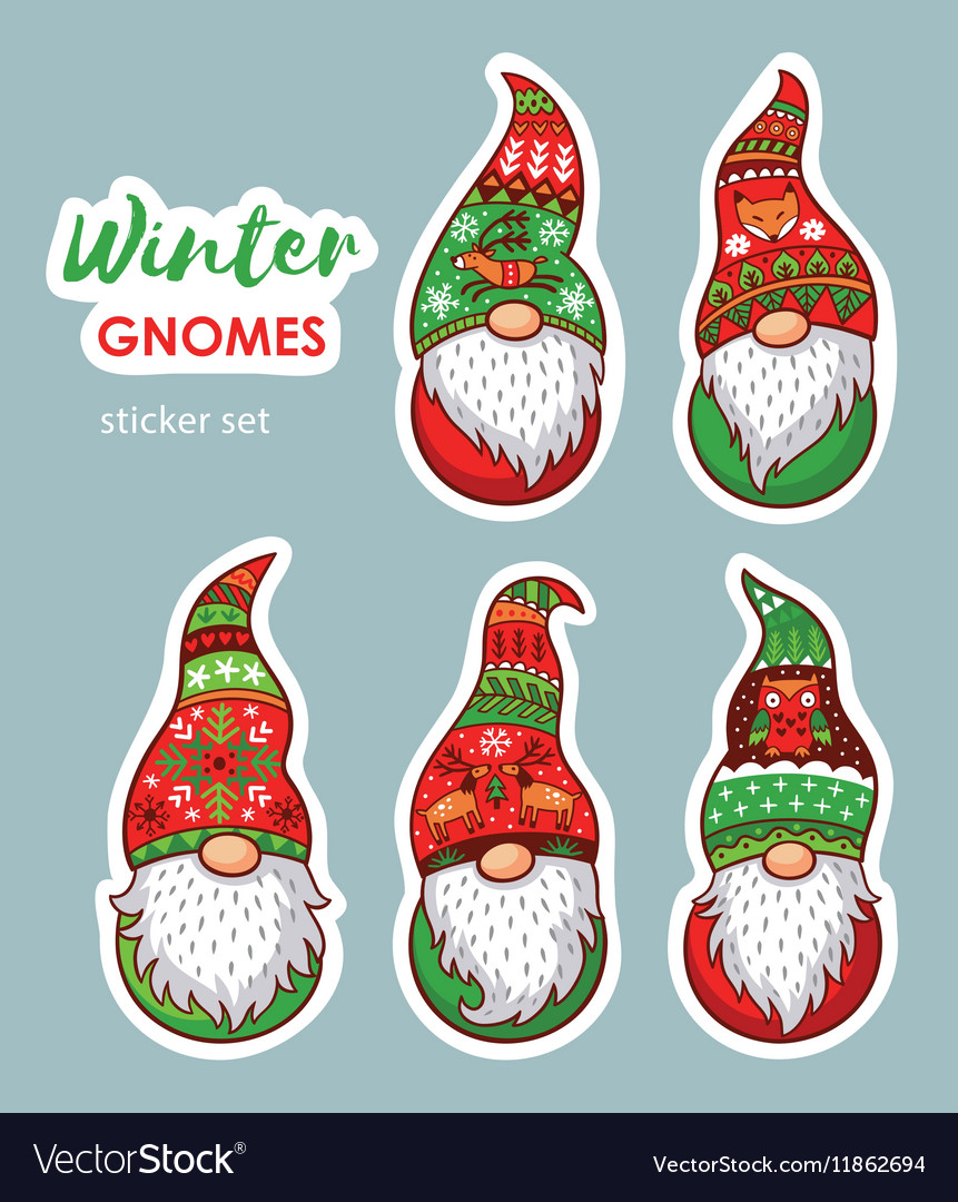 Christmas Gnomes.Set Of Stickers With Christmas Gnomes