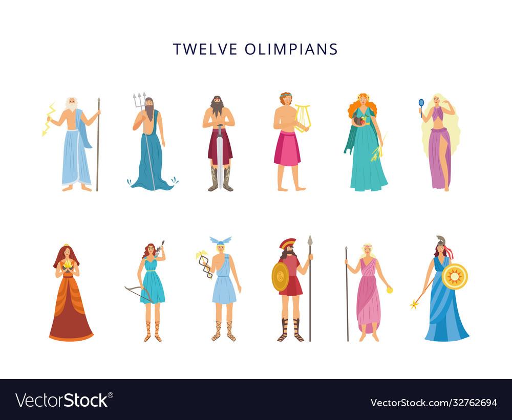 Twelve Olympians Greek Gods And Goddesses Flat Vector Image