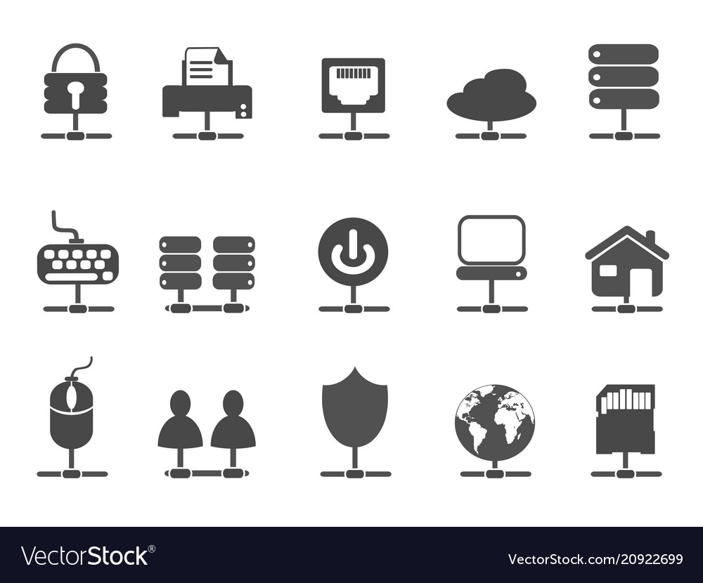 Black network connection icons set