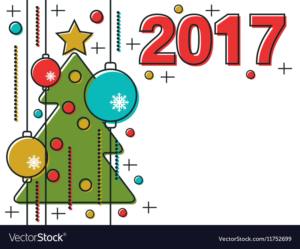 Christmas and New Year 2017 background