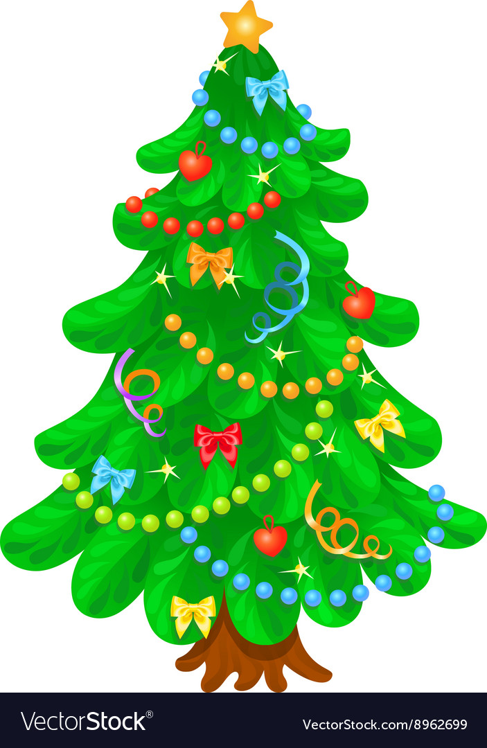 Christmas tree with bright toys in white backgroun