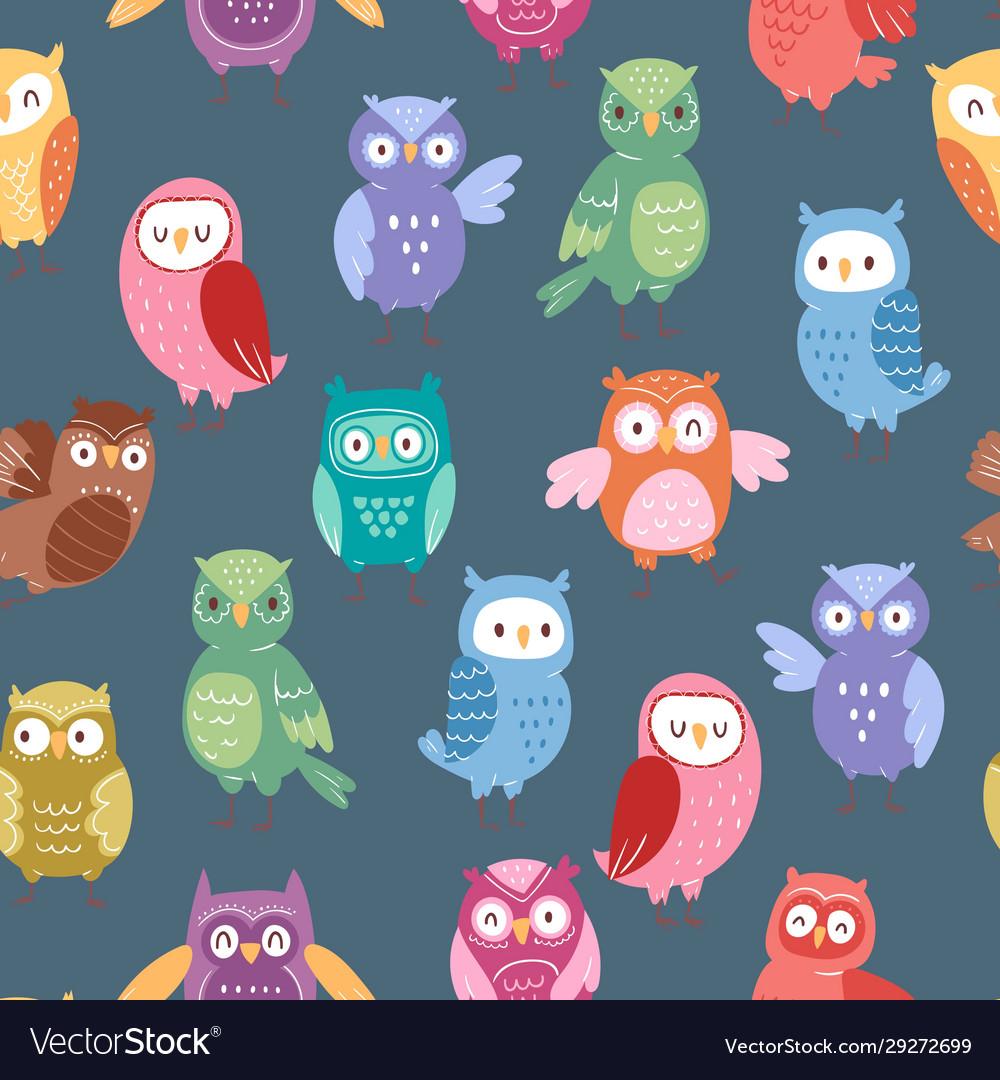 Cute cartoon owls seamless pattern funny